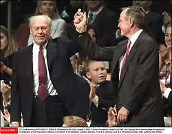 © Chuck Kennedy/KRT/ABACA. 52809-2. Philadelphia-PA-USA, August 2 2002. Former Presidents Gerald Ford, left, and George Bush acknowledge the applause of delegates at the Republican National Convention in Philadelphia Tuesday evening. Ford is in intensive