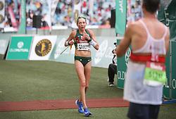 10062018 (Durban) A 5th position Charne Bosman, RSA (6:33:08) run towards the finnish line during the 2018 Comrades marathon in Durban.Picture: Motshwari Mofokeng/ANA