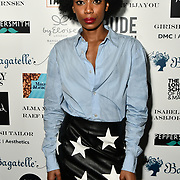 Tonique Campbell Arrivers at Nina Naustdal catwalk show SS19/20 collection by The London School of Beauty & Make-up at Bagatelle on 26 Feb 2019, London,