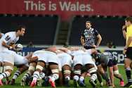 Cory Allen of the Ospreys looks on during a scum. European Rugby Champions Cup, pool 2 match, Ospreys v ASM Clermont Auvergne at the Liberty Stadium in Swansea, South Wales on Sunday 15th October 2017.<br /> pic by  Andrew Orchard, Andrew Orchard sports photography.
