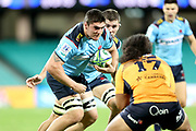 Michael Wood runs at Fred Kaihea. NSW Waratahs v ACT Brumbies. 2021 Super Rugby AU Round 7 Match. Played at Sydney Cricket Ground on Friday 2 April 2021. Photo Clay Cross / photosport.nz