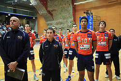 Team ACH and coaches Glenn Hoag and Tilen Kozamernik at finals of Slovenian volleyball cup between OK ACH Volley and OK Salonit Anhovo Kanal, on December 27, 2008, in Nova Gorica, Slovenia. ACH Volley won 3:2.(Photo by Vid Ponikvar / SportIda).
