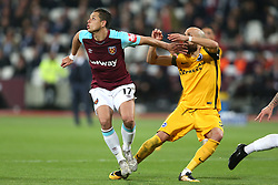 20 October 2017 - Premier League Football - West Ham United v Brighton and Hove Albion - Javier (Chicharito) Hernandez of West Ham looks up for the ball - Photo: Charlotte Wilson / Offside