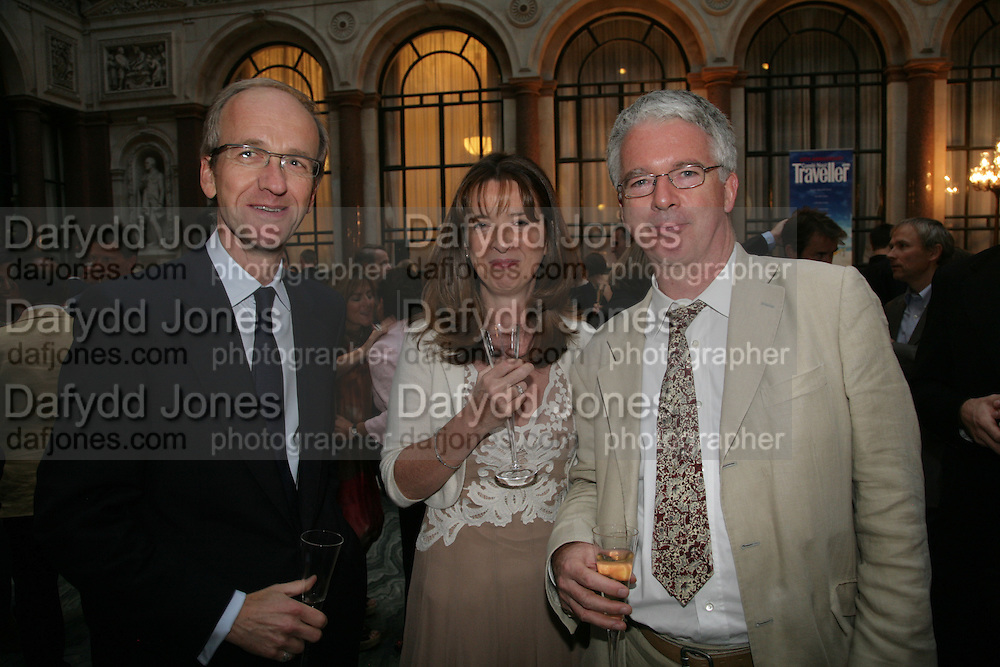 Duncan Minchell, Sarah Spankie and Peter Stothard. 10th Anniversary of Conde Nast Traveller magazine. Foreign and Comonwealth Office. Durbar Court. 10 September 2007. -DO NOT ARCHIVE-© Copyright Photograph by Dafydd Jones. 248 Clapham Rd. London SW9 0PZ. Tel 0207 820 0771. www.dafjones.com.