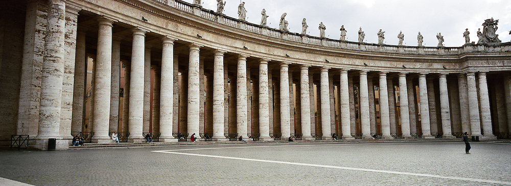 A Panoramic view of St. Peter's Colonnade in St.Peter's Square, Vatican City,  Rome, Italy. 23rd July 2011. Photo Tim Clayton