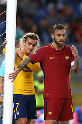 September 12, 2017 - Rome, Italy - Antoine Griezmann of Atletico and Daniele De Rossi of Roma during the UEFA Champions League Group C football match between AS Roma and Atletico Madrid on September 12, 2017 at the Olympic stadium in Rome, Italy. (Credit Image: © Matteo Ciambelli/NurPhoto via ZUMA Press)