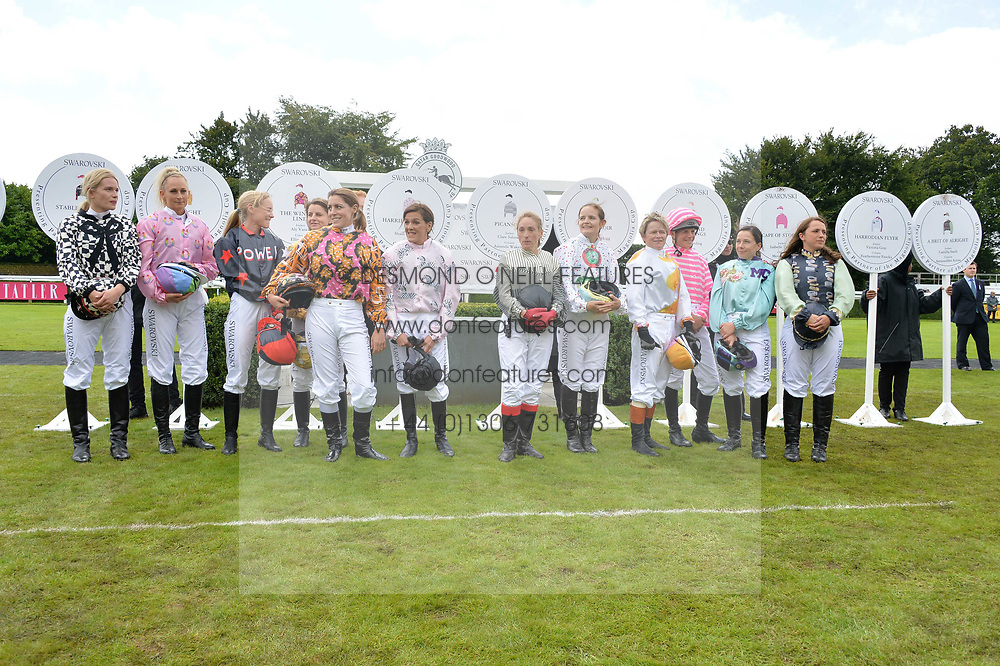 Riders for the Magnolia Cup at the Qatar Goodwood Festival, Goodwood, West Sussex England. 3 August 2017.<br /> Photo by Dominic O'Neill/SilverHub 0203 174 1069 sales@silverhubmedia.com