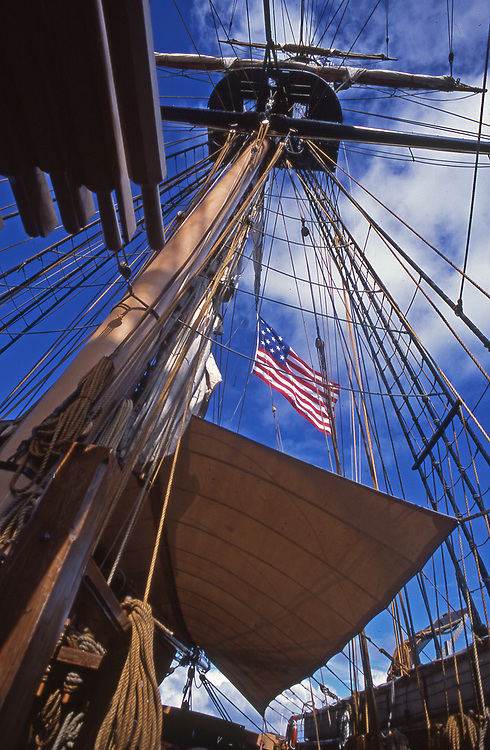 Flagship Niagara with tall center mast rests in port in Erie, PA