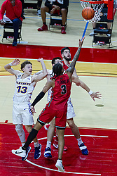 NORMAL, IL - February 27: Howard Fleming Jr reaches past Austin Phyfe for a lay up during a college basketball game between the ISU Redbirds and the Northern Iowa Panthers on February 27 2021 at Redbird Arena in Normal, IL. (Photo by Alan Look)