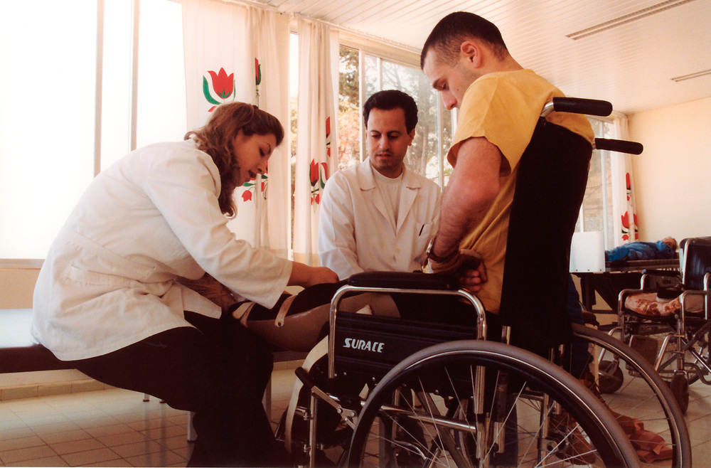 Physiotherapists with patients; Hospital for Physically Disabled; Beirut
