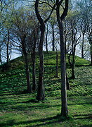 Earthwork mound built by people of the Plum Bayou Culture, Lower Mississippi Valley, Toltec Mounds Archeological State Park, Arkansas.