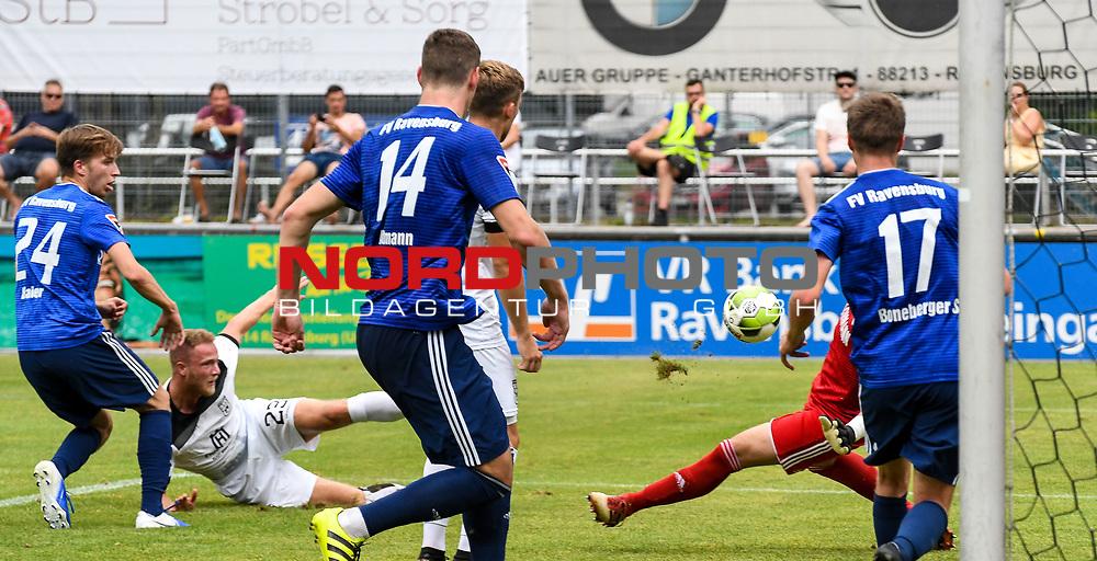 01.08.2020, C-Team Arena, Ravensburg, GER, WFV-Pokal, FV Ravensburg vs SSV Ulm 1846 Fussball, <br /> DFL REGULATIONS PROHIBIT ANY USE OF PHOTOGRAPHS AS IMAGE SEQUENCES AND/OR QUASI-VIDEO, <br /> im Bild Tor durch Steffen Kienle (Ulm, #23), Pascal Maier (Ravensburg, #24), Philipp Altmann (Ravensburg, #14) und Samuel Boneberger (Ravensburg, #17) können nicht mehr eingreifen<br /> <br /> Foto © nordphoto / Hafner