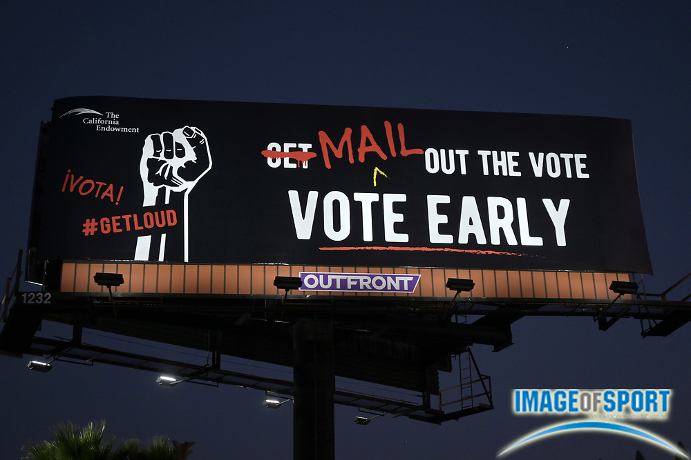 A vote by mail public service announcement billboard sponsored by the California Endowment, Friday, Sept. 25, 2020, in Commerce, Calif.