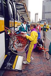 Loading Bus for Wheel Chair Athletes, Boston Marathon 1992
