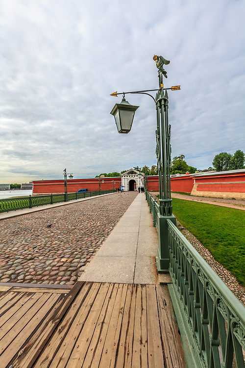 The entrance of the Peter and Paul Fortress in St Petersburg, Russia. To enter the fortress, visitors cross the St. John's bridge, which leads to the St. John's Gate, also referred to as Ivan's Gate.