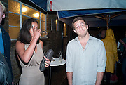 FRANCESCA CHILLEMI; TYRONE WOOD, The launch of the Peroni Nastro Azzurro Accademia del Film Wrap Party Tour. Brick Lane. 25 August 2010. -DO NOT ARCHIVE-© Copyright Photograph by Dafydd Jones. 248 Clapham Rd. London SW9 0PZ. Tel 0207 820 0771. www.dafjones.com.