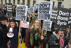 April 13, 2018 - London, London, United Kingdom - Image licensed to i-Images Picture Agency. 13/04/2018. London, United Kingdom. Protesters in London calling on the UK Government to seek a political solution to the crisis in Syria and avoid military intervention. (Credit Image: © Howard Jones/i-Images via ZUMA Press)