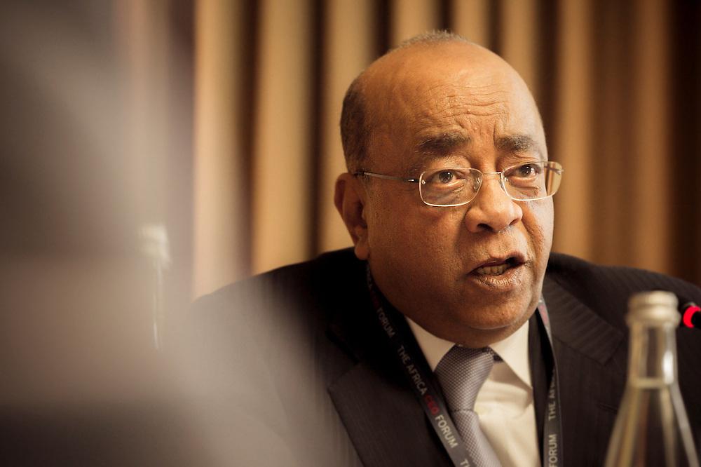 Mo Ibrahim, Fondation Mo Ibrahim, lors du Groupe de travail Public/Privé, Matinée du 17 mars 2015, Africa CEO Forum 2015