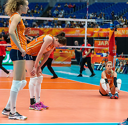 19-10-2018 JPN: Semi Final World Championship Volleyball Women day 20, Yokohama<br /> Serbia - Netherlands / Nicole Koolhaas #22 of Netherlands, Lonneke Sloetjes #10 of Netherlands, Laura Dijkema #14 of Netherlands