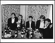 Nick Kermack, Richard Bott, John Stonehouse, Jonathan Burnham, and Robin Howard. Piers Gaveston dinner. Norreys Ave, Oxford. 1980. film 8036f0