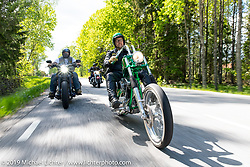 Leffe Jansson riding his S&S Shovelhead long Swedish chopper on a Twin Club ride out from the club house in Norrtälje after their annual Custom Bike Show. Sweden. Sunday, June 2, 2019. Photography ©2019 Michael Lichter.