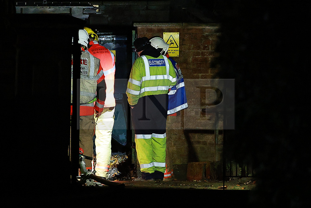 © Licensed to London News Pictures. 29/12/2020. Manchester, UK. Thousands of homes are without power following reports of an explosion or fire at an electricity substation on Bury New Road in Prestwich . Police have closed the A56 to traffic and pedestrians as the fire service and ElectricityNW respond . Photo credit: Joel Goodman/LNP