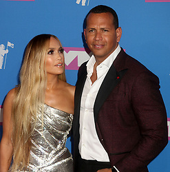 August 20, 2018 - New York City, New York, U.S. - Singer JENNIFER LOPEZ  and ALEX RODRIGUEZ attend the arrivals for the 2018 MTV 'VMAS' held at Radio City Music Hall. (Credit Image: © Nancy Kaszerman/ZUMA Wire)