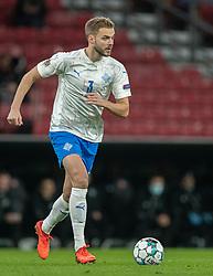 Hólmar Eyjólfsson (Island) under kampen i Nations League mellem Danmark og Island den 15. november 2020 i Parken, København (Foto: Claus Birch).