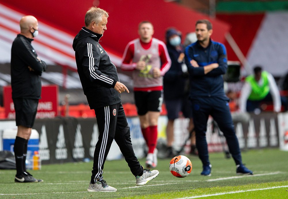 Sheffield United manager Chris Wilder controls the ball<br /> <br /> Photographer Alex Dodd/CameraSport<br /> <br /> The Premier League - Sheffield United v Chelsea - Saturday 11th July 2020 - Bramall Lane - Sheffield<br /> <br /> World Copyright © 2020 CameraSport. All rights reserved. 43 Linden Ave. Countesthorpe. Leicester. England. LE8 5PG - Tel: +44 (0) 116 277 4147 - admin@camerasport.com - www.camerasport.com