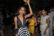 KARINA BURMAN; ALIYA MODI, Serpentine's Summer party co-hosted with Christopher Kane. 15th Serpentine Pavilion designed by Spanish architects Selgascano. Kensington Gardens. London. 2 July 2015.