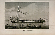 19th century Woodcut print on paper of Le Bucentaure an 80-gun ship of the line of the French Navy, from L'art Naval by Leon Renard, Published in 1881