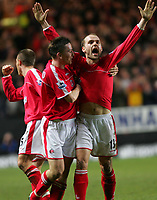 Photo:  Frances Leader, Digitalsport<br /> Charlton Athletic v Tottenham Hotspur. Barclays Premiership. <br /> The Valley<br /> 16/05/2005<br /> Charlton's Danny Murphy celebrates his second goal against Spurs with his team mates Chris Perry and captain Matt Holland bringing the score to 2-0.