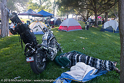 The Born Free Campground early Sunday morning before the Born Free 8 Motorcycle Show at Oak Canyon Ranch. Silverado, CA, USA. June 26, 2016.  Photography ©2016 Michael Lichter.