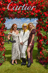 Charlotte Dellal, Pam Hogg and Alice Dellal at the Cartier Queen's Cup Polo 2019 held at Guards Polo Club, Windsor, Berkshire. UK 16 June 2019. <br /> <br /> Photo by Dominic O'Neill/Desmond O'Neill Features Ltd.  +44(0)7092 235465  www.donfeatures.com