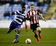 Ben Osborn of Sheffield Utd and Andy Yiadom of Reading during the FA Cup match at the Madejski Stadium, Reading. Picture date: 3rd March 2020. Picture credit should read: Simon Bellis/Sportimage