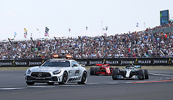 The safety car is deployed during the 2018 British Grand Prix at Silverstone Circuit, Towcester.