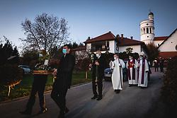 Sprevod ceremony during funeral of former bishop Jozef Smej, on November 24, 2020 in Bogojina, Slovenia. Photo by Blaž Weindorfer / Sportida