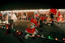 22nd December 2010. Galliano, Louisiana, USA. <br /> Christmas on the bayou. Christmas lights and decorations adorn a house.<br /> Photo; Charlie Varley