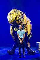 Shoolchildren from Stockwell Primary School meet the realistic dinosaur puppets from Erth's Dinosaur Zoo ,Erth's Dinosaur Zoo <br /> Part of Southbank Centre's Imagine Children's Festival photo by mark anton smith