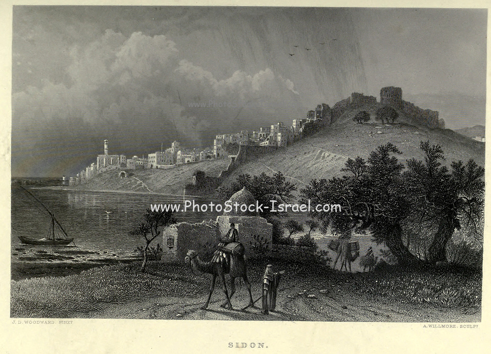 Engraving on Steel of Sidon, Lebanon from the book 'Picturesque Palestine, Sinai and Egypt' by Wilson, Charles William, Sir, 1836-1905; Lane-Poole, Stanley, 1854-1931 Volume 3. Published in by J. S. Virtue and Co 1883