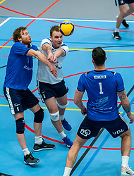 Bart Yark of Sliedrecht Sport, Mart de Groot of Sliedrecht Sport  in action during the quarter cupfinal between Taurus vs. Sliedrecht Sport on April 02, 2021 in sports hall De Kruisboog, Houten