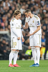 Real Madrid's Luka Modric and Karim Benzema during the UEFA Champions League round of 16 first leg match Real Madrid v Manchester City at Santiago Bernabeu stadium on February 26, 2020 in Madrid, Sdpain. Real was defeated 1-2. Photo by David Jar/AlterPhotos/ABACAPRESS.COM