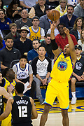 Golden State Warriors forward David West (3) shoots a jumper against the Milwaukee Bucks at Oracle Arena in Oakland, Calif., on March 29, 2018. (Stan Olszewski/Special to S.F. Examiner)