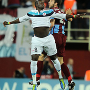 Trabzonspor's Remzi Giray KACAR (R) and Lille's Moussa SOW (L) during their UEFA Champions League group stage matchday 2 soccer match Trabzonspor between Lille at the Avni Aker Stadium at Trabzon Turkey on Tuesday, 27 September 2011. Photo by TURKPIX