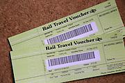 Two rail travel vouchers, UK