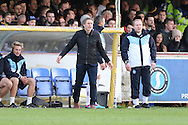 Wycombe Manager Gareth Ainsworth gets animated during the Sky Bet League 2 match between AFC Wimbledon and Wycombe Wanderers at the Cherry Red Records Stadium, Kingston, England on 21 November 2015. Photo by Stuart Butcher.