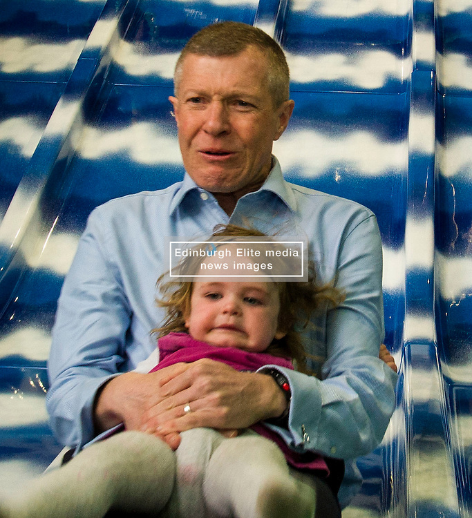 Pictured: Willie Rennie takes the children for a ride down the slide<br /> <br /> Candidates and their children joined Scottish Liberal Democrat leader Willie Rennie today as he unveiled his party's bold, positive and progressive plans to make Scotland the best again as he launched the Scottish Liberal Democrat manifesto.Mr Rennie was joined by some of the Scottish Liberal Democrat candidates standing for election in May as he set out ambitious proposals for a transformational investment in education, a step-change in mental health services, the protection of our environment and guaranteeing Scots' civil liberties.<br /> <br /> Ger Harley   EEm 15 April 2016