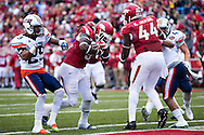 FAYETTEVILLE, AR - OCTOBER 31:  Alex Collins #3 of the Arkansas Razorbacks rushes for a touchdown against the UT Martin Skyhawks at Razorback Stadium on October 31, 2015 in Fayetteville, Arkansas.  The Razorbacks defeated the Skyhawks 63-28.  (Photo by Wesley Hitt/Getty Images) *** Local Caption *** Alex Collins
