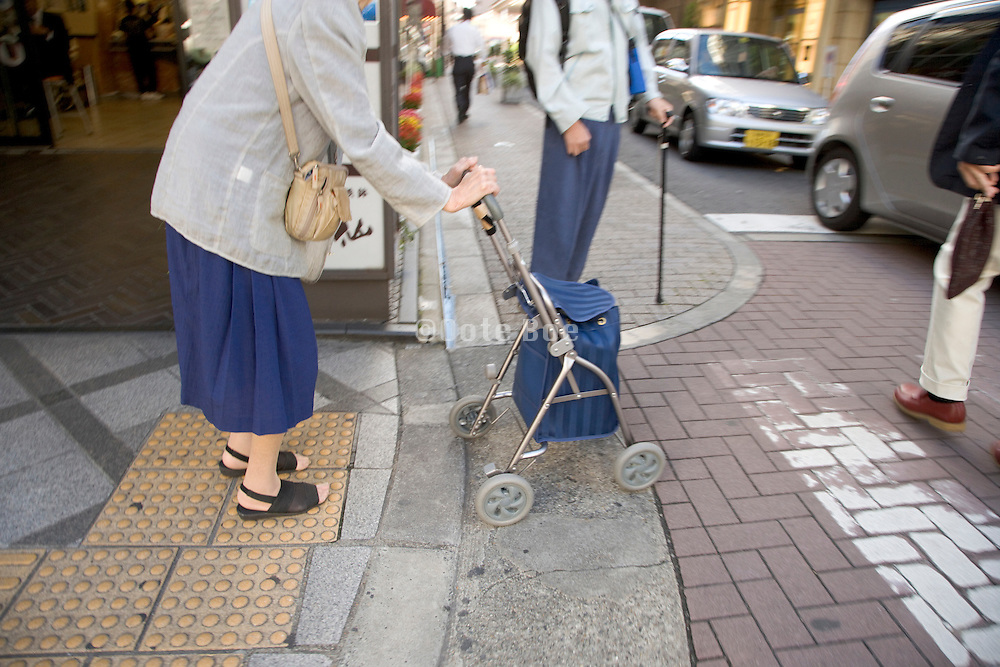 frail old woman going to do her daily shopping