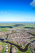 Nederland, Friesland, gemeente Dongeradeel, 28-02-2016; het landschap van de Kleistreek met Dokkum, gezien  naar de Waddenzee.<br /> Dokkum, small town in the very North of Frielsland.<br />  <br /> luchtfoto (toeslag op standard tarieven);<br /> aerial photo (additional fee required);<br /> copyright foto/photo Siebe Swart<br /> Dokkum, smaal town in the very North of Frielsland.<br />  <br /> luchtfoto (toeslag op standard tarieven);<br /> aerial photo (additional fee required);<br /> copyright foto/photo Siebe Swart